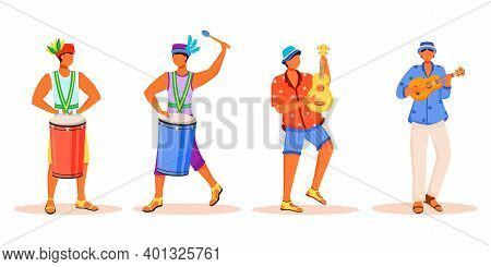 Brazil Carnival Musicians Flat Color Vector Faceless Characters Set. Latino Men Playing On Tradition
