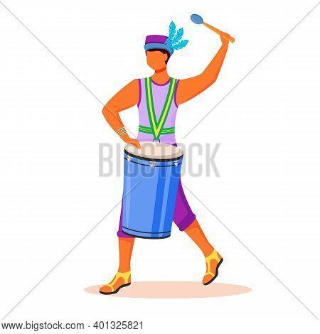 Brazil Carnival Drummer Flat Color Vector Faceless Character. Latino Man In Singlet And Hat. Samba.