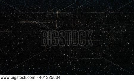 Abstract Background Digital Space Of Signals And Particles On Black Background, Seamless Loop. Anima