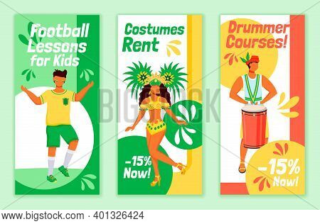 Brazilian Carnival Flyers Flat Vector Templates Set. Football Lessons For Kids Printable Leaflet Des