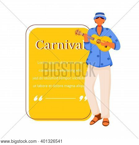 Carnival Flat Color Vector Character Quote. Traditional Musician. Standing Male Playing On Ukulele.