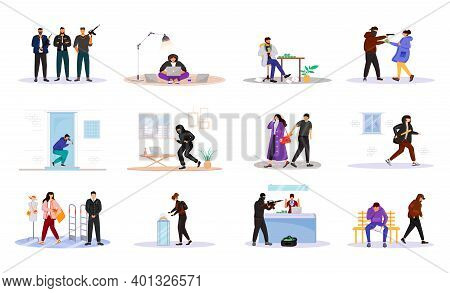 Criminals Flat Color Vector Faceless Characters Set. Criminal Grouping. Housebreakers. Corruption. A