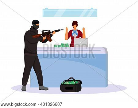 Armed Robbery Flat Color Vector Faceless Character. Criminal Threatening Bank Employee With Weapon.