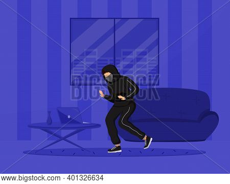 Apartment Break-in Flat Color Vector Illustration. Burglar Stealing Property From Flat. Housebreakin