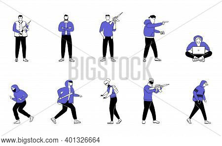 Criminals Flat Silhouette Vector Illustrations Set. Armed Robbers, Burglars. Thieves With Guns, Vand