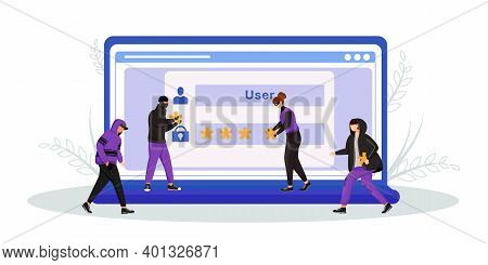 Internet Scam Flat Concept Vector Illustration. Password, Identity Theft 2d Cartoon Characters For W