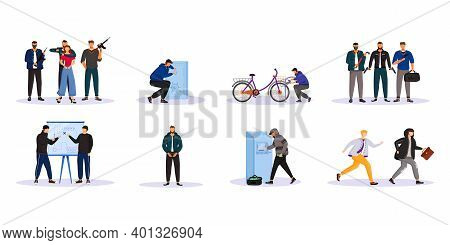 Criminal Activity Flat Color Vector Faceless Characters Set. Organized Crime. Mobs, Groupings. Stree