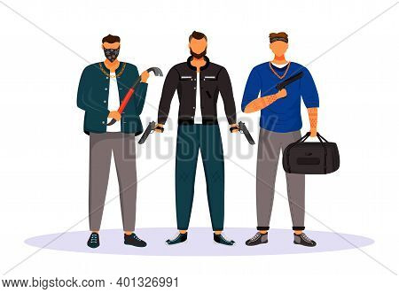 Group Of Gangsters Flat Color Vector Faceless Character. Men With Crowbar And Handguns. Mob Members