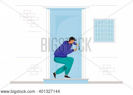 Burglar Breaking Into House Flat Color Vector Faceless Character. Home Break-in. Lockpicking. Thief
