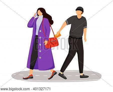 Pickpocketing Flat Color Vector Faceless Character. Street Burglar Stealing Wallet. Pickpocket Robbi