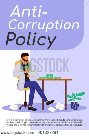 Anti-corruption Policy Poster Flat Vector Template. Bribery. Corrupt Businessman. Illegal Financial