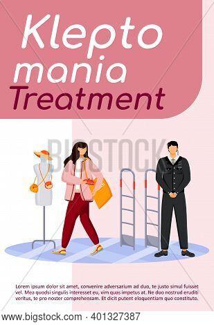 Kleptomania Treatment Poster Flat Vector Template. Shop Theft. Shoplifting. Woman Stealing Purse. Ur
