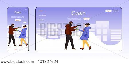 Cash Theft Adaptive Landing Page Flat Color Vector Template. Thief Threatening Girl. Street Robbery