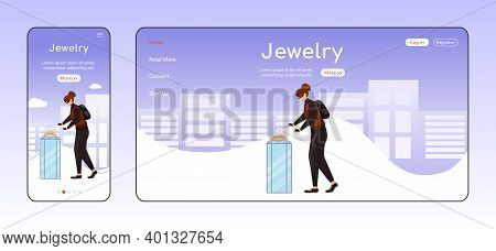 Jewelry Theft Adaptive Landing Page Flat Color Vector Template. Museum Robbery Mobile And Pc Homepag