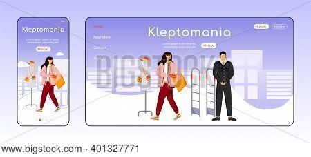 Kleptomania Adaptive Landing Page Flat Color Vector Template. Store Theft. Addictive Behavior Mobile