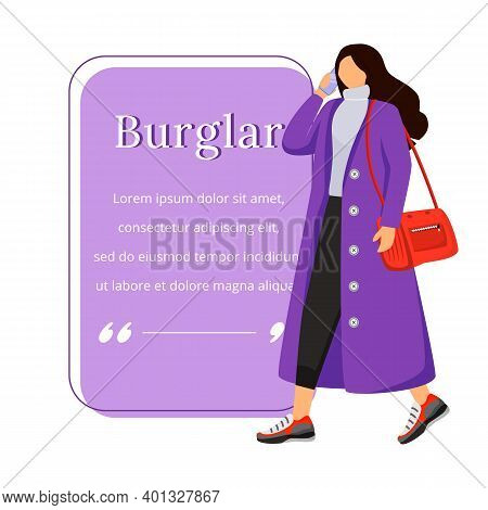 Female Robber Flat Color Vector Character Quote. Careless Woman. Street Robbery. Distraction. Citati