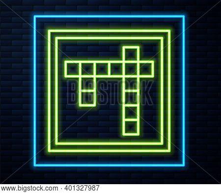 Glowing Neon Line Bingo Icon Isolated On Brick Wall Background. Lottery Tickets For American Bingo G
