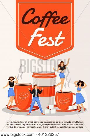 Coffee Fest Poster Flat Vector Template. Community Fair. Entertainment Event. Local Food Party. Broc