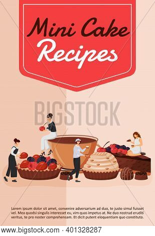 Mini Cake Recipes Poster Flat Vector Template. Chef Cooking Pastry. Cupcake And Tart. Fruit Dessert.