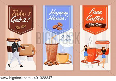Happy Hour For Coffee Flyers Flat Vector Templates Set. Printable Leaflet Design Layout. Take 1 Drin