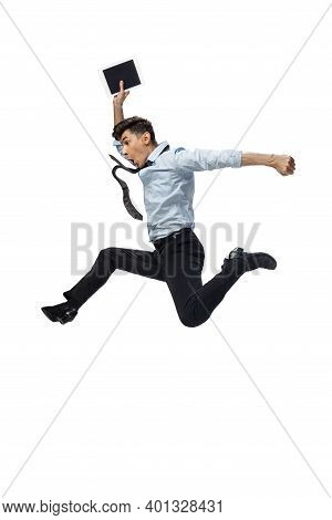 Business. Happy Young Man Dancing In Casual Clothes Or Suit, Remaking Legendary Moves And Dances Of