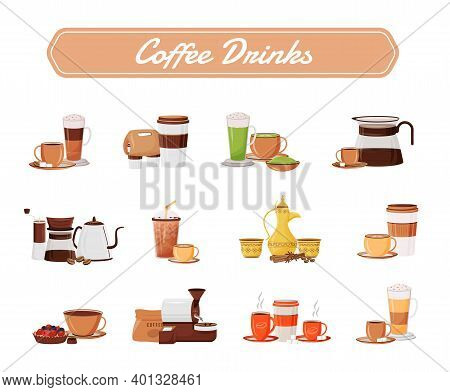 Coffee Drinks Flat Color Vector Objects Set. Cappuccino Serving. Traditional Dallah. Americano In Ce