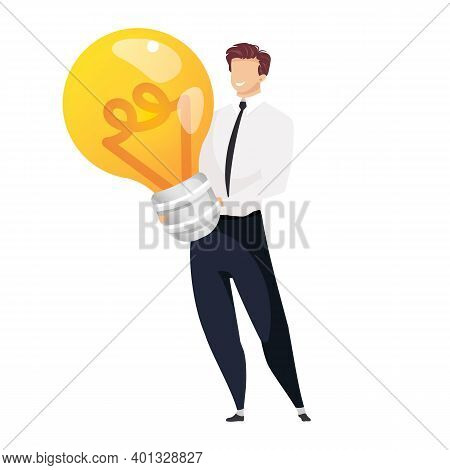 Idea Generation Flat Concept Vector Illustration. Man Holding Light Bulb 2d Cartoon Character For We