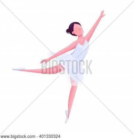 Ballet Female Dancer Flat Color Vector Faceless Character. Ballerina In White Costume, Theatre Dance