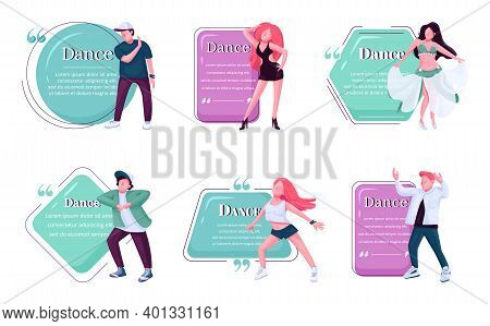 Dancers Flat Color Vector Character Quotes Set. Bellydance, Hip Hop, Contemporary Dance Styles Perfo