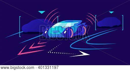 Driverless Car Flat Color Vector Illustration. Autonomous Transport, Self Driving Vehicle On Blue Ba