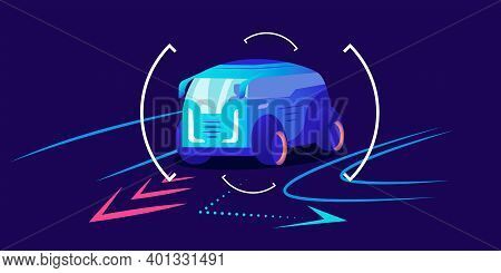Automobile Navigation Flat Color Vector Illustration. Smart Driver Assistance, Automobile Movement P