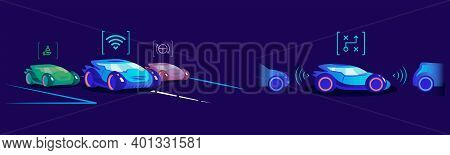 Smart Driverless Cars Flat Color Vector Illustration. Vehicles With Different Automation Levels And