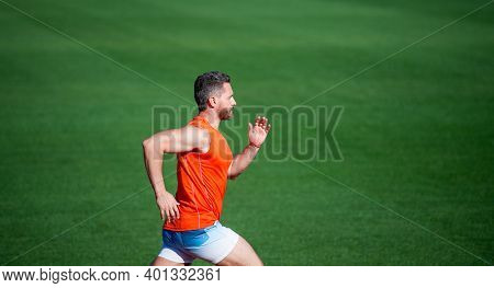 Athletic Man Compete In Sprint. Sport Healthy Lifestyle. Fitness Training Outdoor. Runner Run Fast O