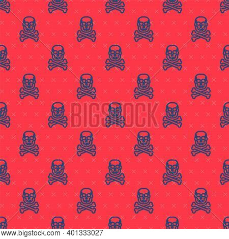 Blue Line Skull On Crossbones Icon Isolated Seamless Pattern On Red Background. Happy Halloween Part