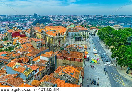 Aerial View Of Porto Oporto City Historical Centre With Red Tiled Roof Typical Buildings, Igreja De