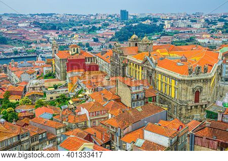 Aerial View Of Porto Oporto City Historical Centre With Red Tiled Roof Typical Buildings, Douro Rive