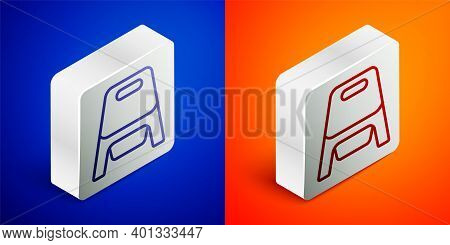 Isometric Line Baby Potty Icon Isolated On Blue And Orange Background. Chamber Pot. Silver Square Bu