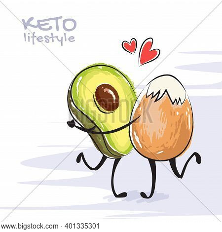 Color Vector Illustration Of Keto Lifestyle. Funny Dancing Avocado And Egg Characters. Cute Cartoon