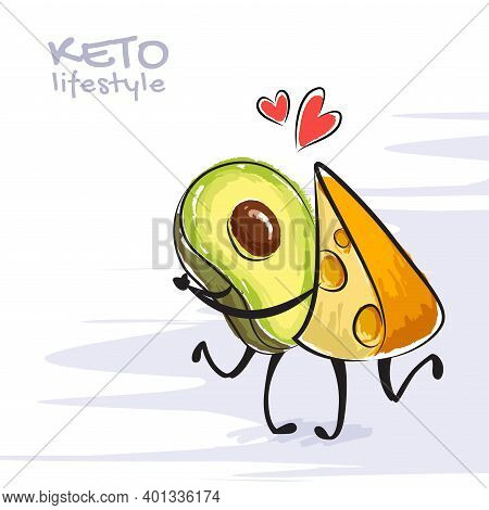 Color Vector Illustration Of Keto Lifestyle. Funny Dancing Avocado And Cheese Character. Cute Cartoo