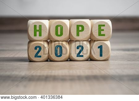 Pieces Of Wood, Cubes And Light Box With Message Goals 2021 And Hope 2021 On Wooden Background