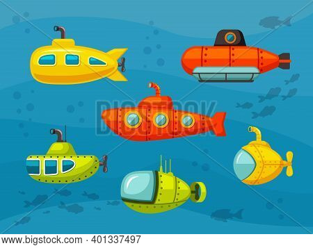 Submarines Set. Yellow Hilarious Design Bathyscaphes And Red Iron Scuba Floats With Propellers And R