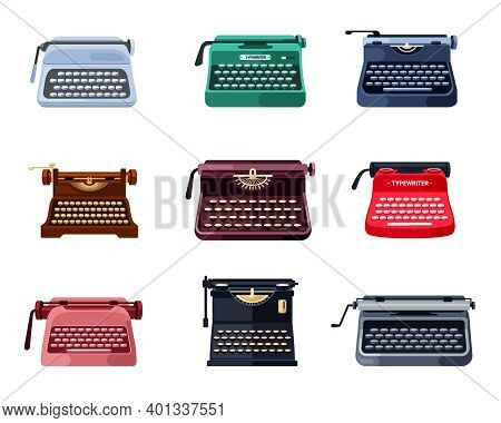 Printed Retro Typewriters Set. Stylish Old Mechanical Instruments For Printing Documentation And Fic