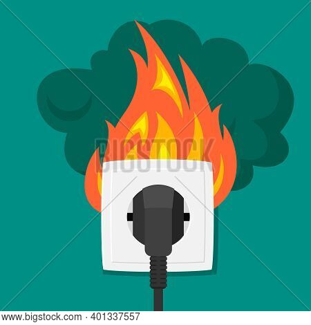 Burning Electrical Outlet Illustration. Electrical Short Circuit From Black Plug Bright Faucet Flame