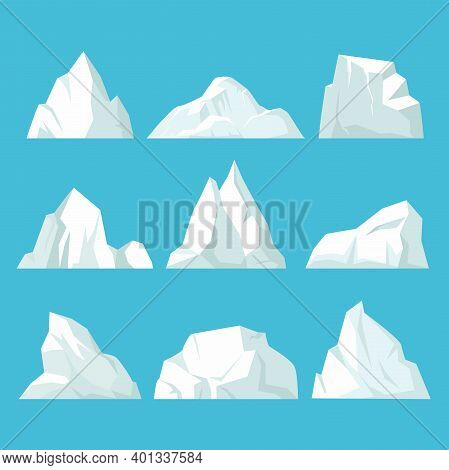 Geometric Icebergs Set. Floating Blocks Of Ice In Arctic Ocean Massive White Surface With Underwater