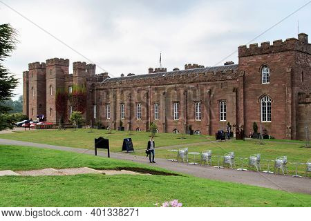 Scone, Great Britain - September 11, 2014: This Is The Scone Palace, Near Which Is A Replica Of The