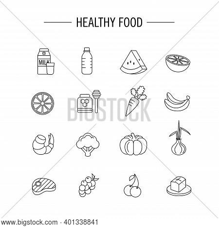 Icon Set For Healthy And Nutritious Food Ingredients. Perfect For Design Elements From The Health Fo