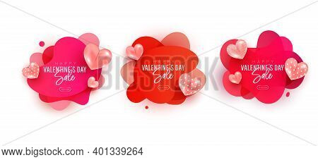 Valentines Day Sale Collection Set. Flying Air Heart Shaped Balloon Elements. Design Template For Ad