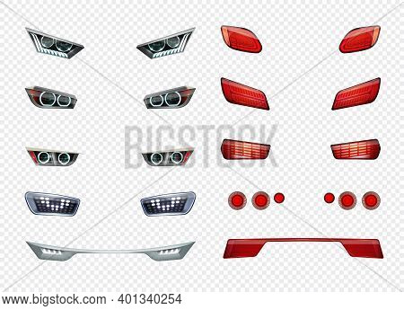Car Headlights Realistic Transparent Icon Set Different Type Style And Color Of Headlights Vector Il