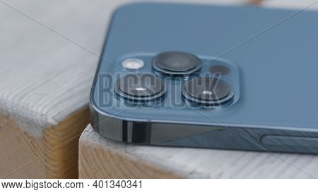 Three Cameras Of New Iphone. Action. Luxury Design Of New Iphone With Three Cameras. Professional Ca