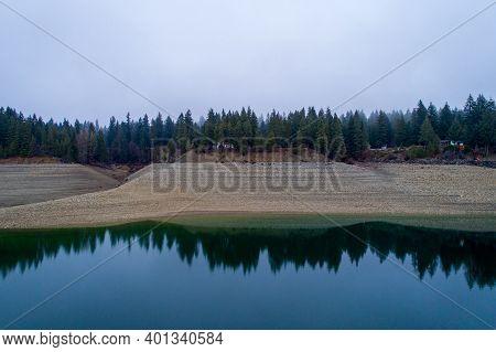 Aerial View At Cle Elum Lake In Washington State, December 2020